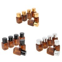 Storage Bottles & Jars 6pcs Dark Brown Square Refillable Empty Essential Oil Perfume Cosmetic Makeup Bottle Container Holder Silver   Black