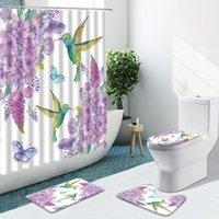 Shower Curtains Color Bird Purple Flower Butterfly Curtain Non-Slip Flannel Rugs Toilet Cover Bath Mat Bathroom Set Home Decor Washable