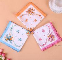 Handkerchief Floral Floral Mulheres Bordadas Handkerchief Flor Lady Lady Hankies Mini Squarescarf Boutique Bolso Toalha FWA4991
