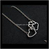 قلادة المعلقات انخفاض التسليم 2021 الأزياء القلب الكلب سحر قلادة الذهب سير 2 اللون جرو باو طباعة حبيب الحيوانات الأليفة قلادات مجوهرات ل ps09