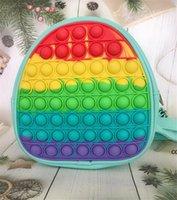 Rainbow Dye Fidget Backpack Bubble Toys Bag Push Bubbles Purses Kids Adult Sports Casual Shoulder Bags Handbag Tote Christmas Gift DHD10458