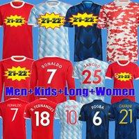 Роналду 22 22 Sancho Manchester Soccer Jersey United Fans Player версия человека Bruno Fernandes Pogba Rashford Футбольная футболка длиной Юнайтед 2021 2022 человек + детские наборы