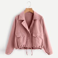 Women's Jackets Fall Winter 2021 Wear Long Sleeve Short Turn-down Collar Single Breasted Solid Color Green