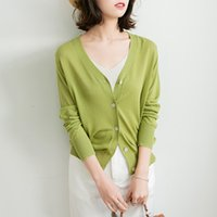 2021 Summer New Thin Cardigan with Fashionable Avocado Green Ice Silk Air Conditioning Sunscreen Shirt Long Sleeve V-neck Sweater