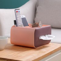 Tissue Boxes & Napkins Plastic Desktop Storage Box Multifunctional Dust-proof Remote Control Double Canister
