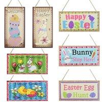 20x10cm Wood Easter Hanger Pendant Wooden Egg Happy Sign Plaque For Home Door Outdoor Garden Decorations Party Decoration