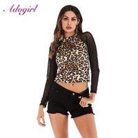 Sexy leopardo impresión camisa de malla mujer otoño casual gasa manga larga manga tortuga blusa blusa camisa streetwear tee damas tops tops