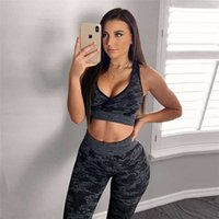 Tracksuits selling camouflage Women's knitted Yoga Pants exercise fitness suit sexy hip lifting seamless Leggings vest
