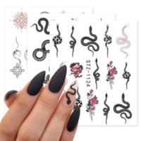 1 Sheet Snake Nail Art Stickers Animal Design Black Snakes Temporary Tattoos Manicure Dragon Decal Slider Water Transfer Wraps Nails Decorations Tool 6.3*5.4cm