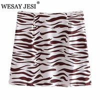 Faldas Wesay Jesi 2021 Moda Cebra patrón Falda corta Caderas de las señoras de la cintura alta de la cintura retro de la cintura retro Elegante Temperament Damas
