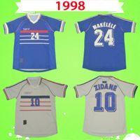 França Francia France Frankreich Fransa Erwachsene + Kinder-Kit ZIDANE 1998 RETRO Fußball Jerseys zu Hause weg Uniformen Thailand-Qualitätsfußballhemd VINTAGE HENRY MAILLOT DE FOOT