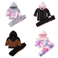 kids Clothing Sets Girls outfits Children Tie Dye Leopard Print Hooded Tops+pants 2pcs set Spring Autumn fashion Boutique baby clothes Z4316