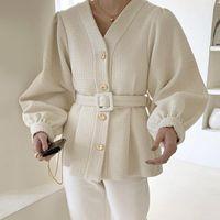 Vintage Office LadyJacket Long Sleeve V-neck Single Breasted Slim Solid Color Female Outerwear Elegant Women Coat with Belt