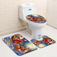 Toilet Seat Covers Christmas Cover 3Pcs Set Bath Mat Non-Slip Bathroom Rugs Water Home Doormats Decoration Absorption Carpet
