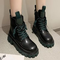 Boots Fashion Pu Leather Motorcycle Botas Punk Winter Chunky Platform Ankle For Women Round Toe Lace-up Autumn Woman