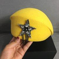 Mujeres unisex lana fieltro field fedora amarillo boina sombrero pillbox fascinador platillo tilt newsboy gorra estilo francés gorra gorra invierno sombrero