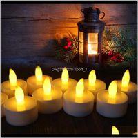 Décor Ev Bahçe Bırak Teslimat 2021 LED Alevsiz Tealight Titreşimsiz Çay Mumlar Işık Düğün Doğum Günü Partisi Noel Için Batarya