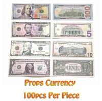 Film Parti Para Sahte Kütük Kağıt Oyuncaklar ABD 20 50 100 Dolar Tam Baskı Çocuklar için 2 Taraflı Prop Banknote Komik Oyuncak