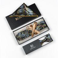 Проверьте жаккардовые тканые мужчины бабочка бабочка галстук бабочка карманный квадрат платок чанкий костюм набор # RC2