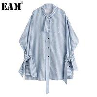 [EAM] Женщины Blue Striped ленты большой размер блузки стойки воротник с длинным рукавом свободная подходит рубашка мода весна осень 2021 1Y891 женские блузки