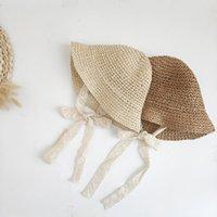 Летние кружевные шапки для девочек соломенные дети девочка ведро шляпа ручной работы дети панама каникулы пляжные шапки