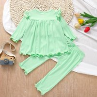 Clothing Sets Baby And Toddler Girl Clothes Set 2-Piece Set, Long-Sleeved Solid Color Ruffled Blouse + Pants
