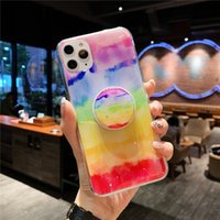 Rainbow gradual Holder stand Phone case for iphone 13 12 MiNi 11 Pro MAX X XS XR 6 7 8 plus SE 2020 Soft Epoxy Resin clear Cover