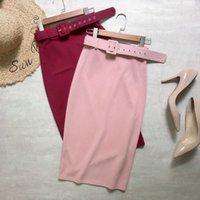 Neophil 2021 Summer Ladies Chiffon Pencil Midi Skirts Sashes High Waist Stretch Slim Solid Elegant Office Work Wear Saias S21401 X0428