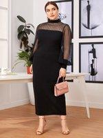 Womens Plus Size Dresses Maxi Dress Women Black Sexy Gauze Patchwork Long Sleeve Slim Center Slit Hem On The Back Party