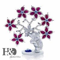 H&d Elephant Flower Tree Figurine Turkish Evil Eye Tree for Protection Wealth Good Luck Christmas Gift Home Decor Resin Ornament Q0525
