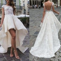 High Low A-Line Wedding Dresses Lace Backless Bridal Gowns Scoop Neck Cap Sleeve Custom Made Plus Size Country Appliques Beach vestide de noiva