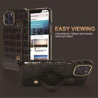 Caja de pulsera de cuero de galgo de lujo de cocodrilo para iPhone 12 11 Pro Max Durable resistente de cocodrilo sólido Soporte de impresión Phone Cubierta anti-caída