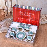 China Cerâmica Copo De Café Set Prato Cerâmico Britânica Tarde Tarde variedade criativa de copos de alta qualidade 50-100ml com caixa de cor