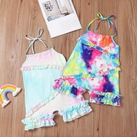 kids Rompers girls Tie dye romper infant toddler Sling ruffle Jumpsuits INS Korean version summer fashion Boutique baby clothing