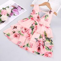Girl's Dresses Summer For Girls Toddler Girl Clothes Baby Sleeveless Floral Princess Dress From 2 To 7 Years