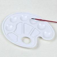 Plastik Çizim Tepsi Renk Paleti Sanat Boya Yağ Sulu Boya Beyaz Boyama Palet 10 Wells Tasarım Thumb Holeft87 Y4SJ ile