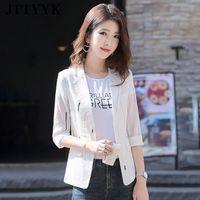 Women's Suits & Blazers Striped Thin Blazer Oversize Three Quarter Spting Summer Women Jacket Sim Korean Fahion Office Clothes Casual Suit W