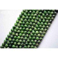 كله (1 ستراند / مجموعة) حقيقي الأخضر كروم ديوبسايد 8-10 ملليمتر السلس جولة فضفاض ستون الخرز لصنع المجوهرات ديي