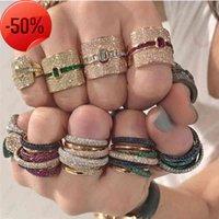 Vecalon Monaco Design Luxury Statement Stackable Ring For Women Wedding Cubic Zircon Engagement Dubai Punk Bridal Top Finger Rings