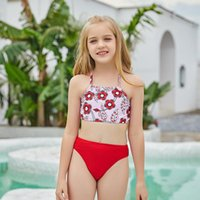 One-Piece Suits Two Piece Swimwear For Girl Red Print Children Swimsuit 9-12 Years Kids Swimming Beach Bathing Suit