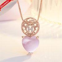 Koreanische stil rose vergoldet hibiscus stein pulver kristall h bild pendant herzförmige diamant halskette weibliche clavicle kette haar jdz295
