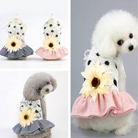 Haustier Hund Streifen Sonnenblume Kleid Hund Blume Mini Röcke Sommer Hunde Kleidung Schwarz Rosa Drop Schiff 360046