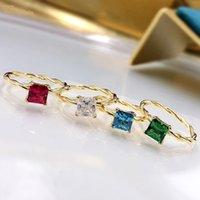 Wong Chuva 925 Sterling Silver Criado Moissanite Ruby Esmeralda Gemstone 18k Anel de Ouro Amarelo para Mulheres Belas Jóias