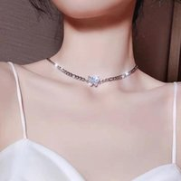 Pendant Necklaces Trendy Silver Color Shiny Elegant Butterfly Chain Choker Zircon Necklace Wedding Gift For Women Fine Jewelry