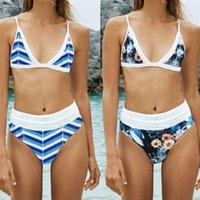 Women's Swimwear Push Up Bikini Set Striped High Waist Floral Printed Beach Beachwear Bandage Maillot De Bain