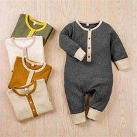 Детская одежда кнопка младенческий мальчик комбинезон с длинным рукавом новорожденные комбинезоны контрастный цвет детский боди детская бутик одежды 1867 y2