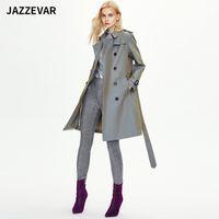 82001 # Original Desginner Jazzevar Women British Blazer Blazer Trench Abrigo Cortavientos Abrigo de viento Sólido Cinturón de doble pecho