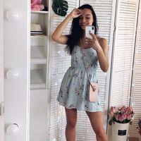 Sweet Summer Casual Fashion Bohemian Womens Dresses Print Thin Strap Sleeveless Black for Women