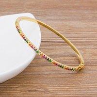 Bangle Design High Quality Charm Rainbow Bangles Copper Zirconia Rhinestone Cuff Trendy Jewelry Gift For Women Girls