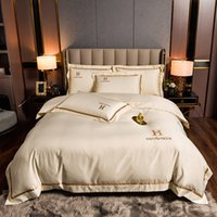 European Style Washed Three or Four Piece Set of Ice Bedding Silky Sleeping Naked in Spring and Summer Bed Fitted Sheet,